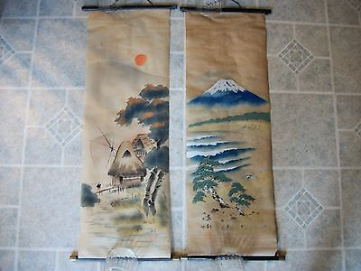 REDUCED! Pair of Vintage Oriental Asian Scrolls Landscape Paintings Stamped