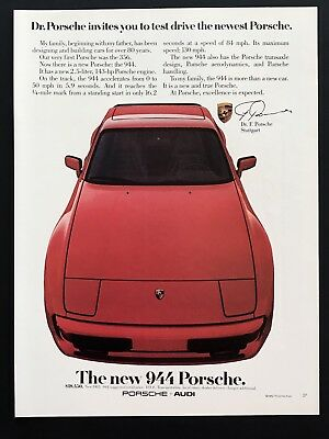 1982 Vintage Print Ad 944 PORSCHE Red Sports Car Image 80's Style