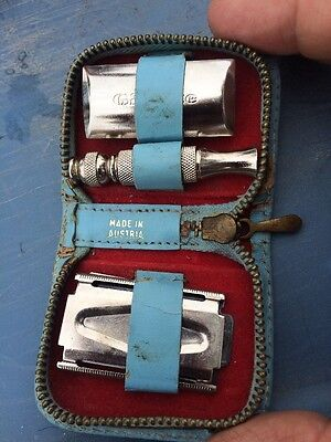 Gillette Vintage Travel Razor Collapsible With Zip Case