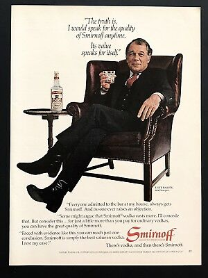 1982 Vintage Print Ad SMIRNOFF Vodka F Lee Bailey Trial Attorney Lawyer Image