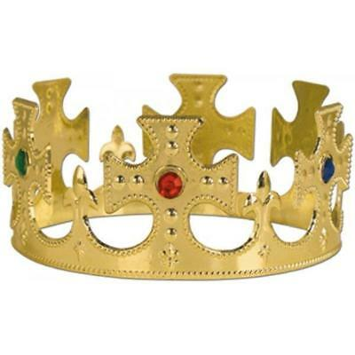 Gold Queen Medieval King Prince Tiara Crown Jewel Royalty Costume Prop