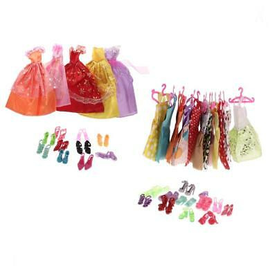 17Pcs Dress Skirts&12Pcs Hangers&22 Pairs High-heeled Shoes for Barbie Dolls