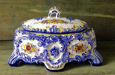 Vestal Alcobaca Pottery Portugal Hand Painted #538 Rectangular With Lid Floral
