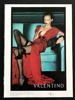 2006 Vintage Ad VALENTINO Woman's Fashion Red Gown Black Stockings High Heels