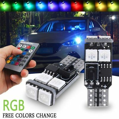 2X T10 6SMD 5050 RGB LED Car Wedge Side Light Reading Lamps Bulbs+Remote Control