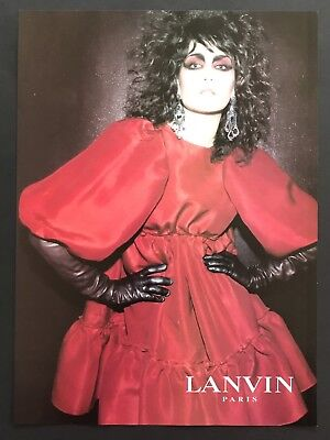 2006 Vintage Print Ad LANVIN Red Dress Model Pose Couture Image Photo