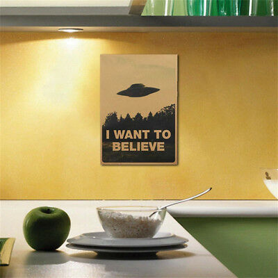 """I Want To Believe"" Poster 2018 Vintage Classic X FILES Home Decor Wall Stickers"