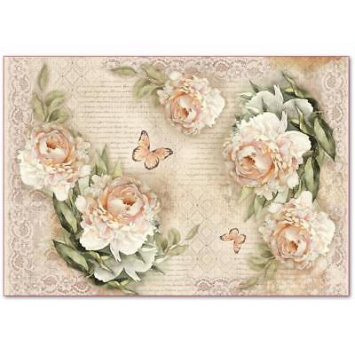 1 Blatt Decoupage Reispapier DFS405 peonies and laces