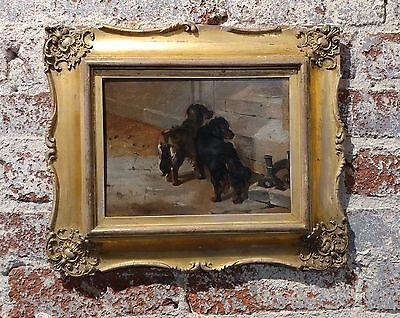 John Emms- Pair of English Spaniels dogs -Beautiful 19th century Oil Painting