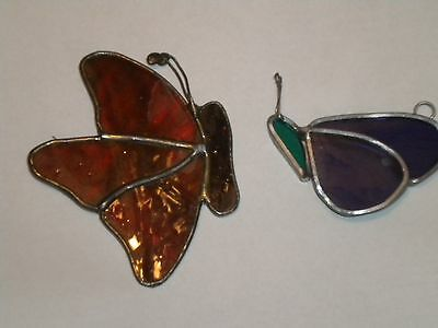 vintage stained glass butterfly suncatchers with pewter surround
