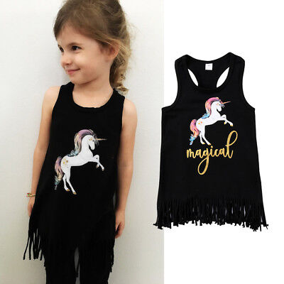AU Stock Toddler Kids Baby Girls Sleeveless Unicorn Dress Outfits Clothes 1-6T