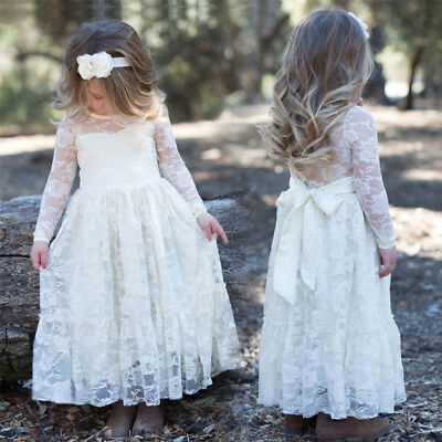 Toddler Kids Sweet Girls Long Sleeve Princess Lace Bow Wedding Party Dresses