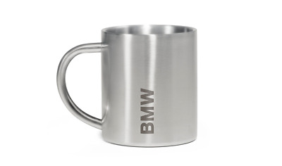 BMW Genuine Active Mug Cup Silver Stainless Steel 0.3L Engraved 80282446015