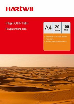 A4 OHP Film Acetate Clear with White Strip For Inkjet Printer - 20 Sheets Hartwi
