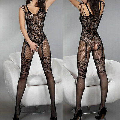 Lady Open Crotch Stockings Crotchless Body Fishnet Sheer Lingerie Night Nylon