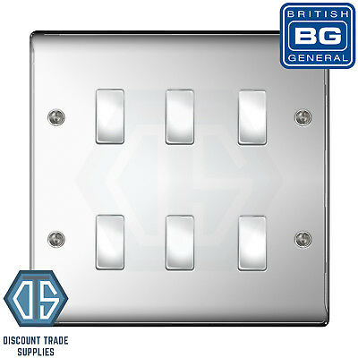 BG Bespoke 6 Gang Gridswitch Kitchen Switch Panel Polished Black Nickel labelled