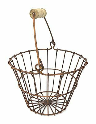 Metal Wire Egg Basket Vintage Kitchen Goods Home Decor Bucket Display New