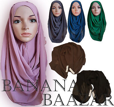INSTANT Chiffon Hijab Double Loop Slip On Scarf Pull Over Crepe Shawl Islamic