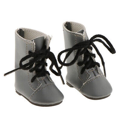Fashion Shoes PU Leather Lace up Boots for 14'' American Girl Doll - Gray
