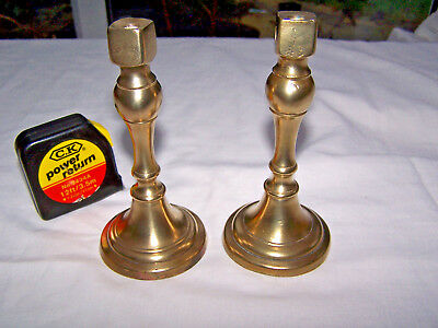 VINTAGE BRASS FINIALS SUPPORTS STANDS PAIR 13cm VICTORIAN ARCHITECTURE