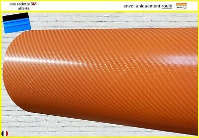 film vinyle carbone 4D orange thermoformable adhésif covering PRO 130cm x 20cm