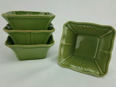 """Arenito Stoneware Dish Green Made in Portugal Set of 4 Serving Condiment 4"""" x 4"""""""