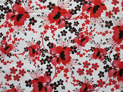 Moon Flowers Red Black Flowers White Cotton Fabric Bthy