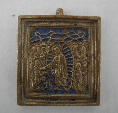 Antique Russian Orthodox Brass and Enamel Icon Anastasis 19th century