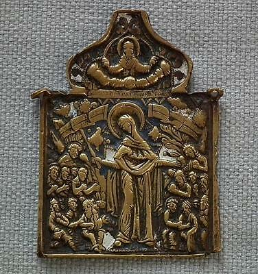 Antique 18th century Russian Orthodox Icon the Mother of Good Joy of All Who
