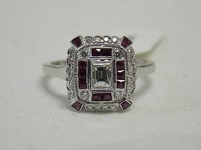 Antique Style French Calibrated Cut Ruby & Diamonds Ring on 14K White Gold