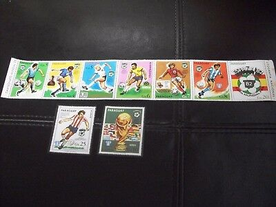 Mint/mnh Paraguay World Cup Soccer Full 9 Stamp Set Copa Mundial Fifa Espana'82