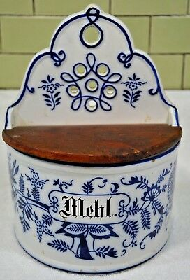 Antique German Stoneware Blue White Onion Pattern FLOUR CELLAR WALL HANGING BOX