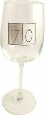 Grey Sq Wine Glass 70th birthday. Dreamairshop Ltd UK. Shipping Included