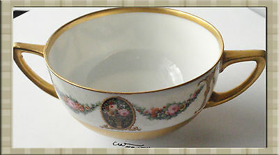 """HUTSCHENREUTHER S B  2-Handle  """"Encrusted Gold Creme Soup Cup & Saucer"""""""