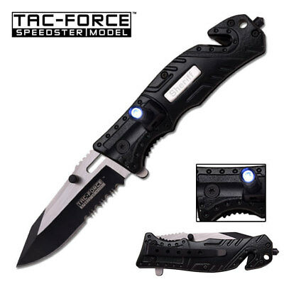 Tac Force Sheriff Spring Assist Folding Knife, Two-Tone Half-Serrated Blade