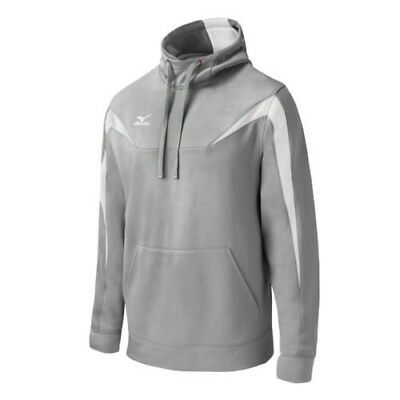 (Large, Grey/White) - Mizuno Elite Thermal Hoodie. Delivery is Free