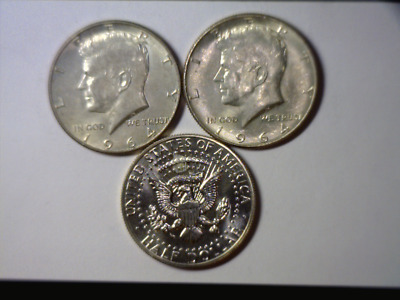 1964 P, D & Proof Kennedy Silver Half Dollars - Last Year  90% Silver  P,d,proof