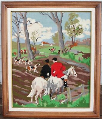 Large Framed Needle Point/Stitched Cloth - Fox Hunt Scene