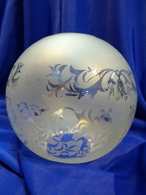 GLOBE DE LAMPE A PETROLE EN VERRE SATINE & DECOR . H 136 mm  D 60 mm. REF 4441