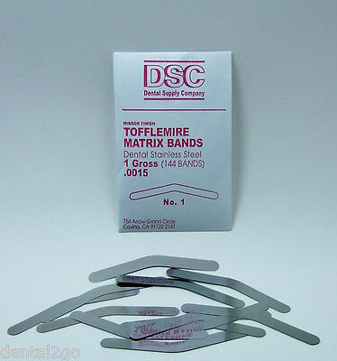 Tofflemire Matrix Bands, 144 Dental Matrix bands, No 1  .0015 Gross Pack