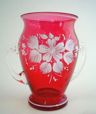 Vintage Hand Painted Art Glass Vase Cranberry with 2 Clear Handles