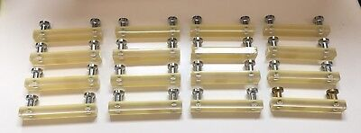 Lot Of 16 Clear and Light Yellow Lucite Rectangular Drawer Pulls!!!