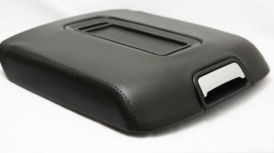 Real Leather Black Center Console Lid Armrest Cover Fit 15-18 Chevy Tahoe, Yukon