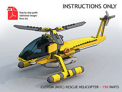 Lego Custom MOC - Rescue Helicopter - PDF Instructions ONLY