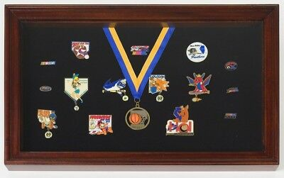 (Red) - Display Case for Pins, Medals, Badges - Shadow Box. Huge Saving