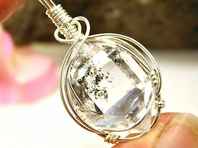NICE INCLUSIONS 15x22 mm NY Herkimer Diamond DT Crystal Silver Pendant R50