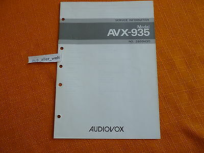 SERVICE MANUAL AUDIOVOX AVX 935 english Information Schaltplan Anleitung