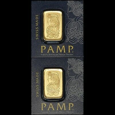 Lot of (2) PAMP Lady Fortuna 1 Gram .9999 Fine Gold Bar - Free Shipping USA