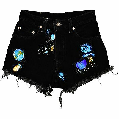 Vintage Women's 00 Levi's 550 High Waist Black Denim Shorts Galaxy Space Geek