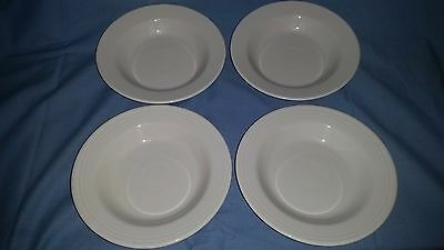 """Lot of 4 White Homer Laughlin China Co Genuine Fiesta Ware 9"""" Soup Pasta Bowls"""